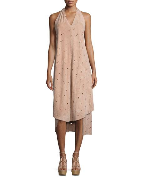 Foundrae Eyelet Leather Apron Dress, Pink Sand