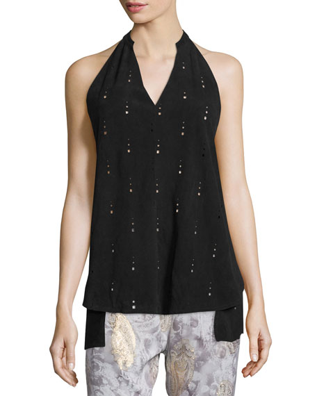 Foundrae Leather Apron Top & Silk Paisley Lounge