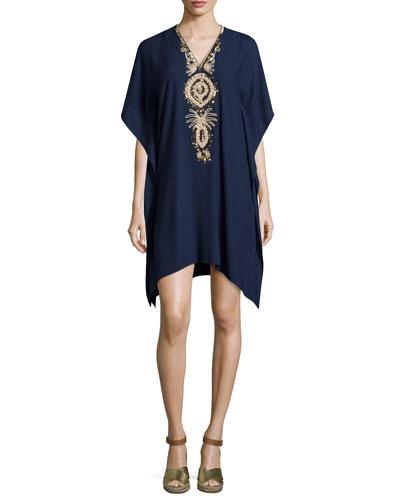 Chai V-Neck Embellished Caftan Dress, True Navy