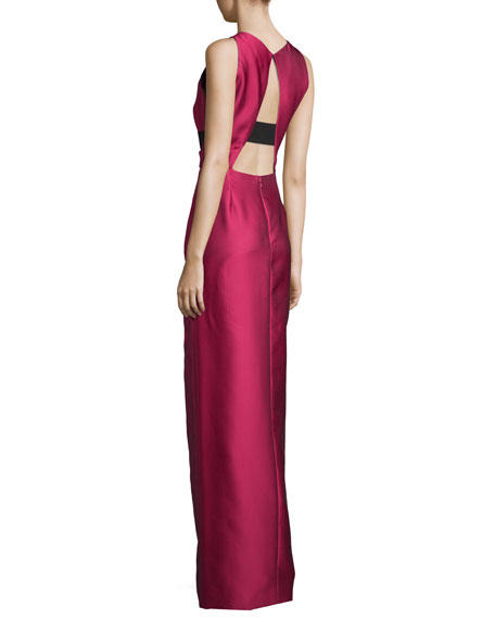 Halter-Neck Two-Tone Gown, Fuchsia