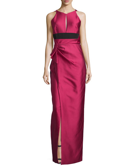 J. Mendel Halter-Neck Two-Tone Gown, Fuchsia