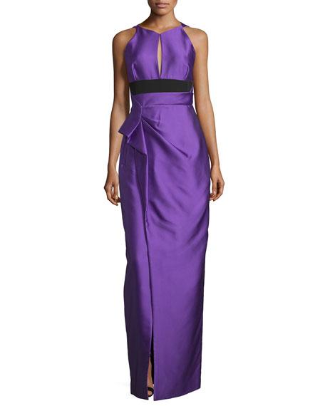 J. Mendel Halter-Neck Two-Tone Gown, Violet