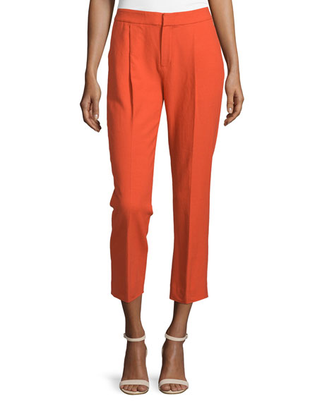 Cropped Pleated Pants, Flame