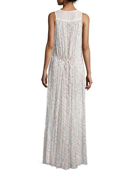 Simona Geometric-Print Maxi Dress, Geo Print/Multi