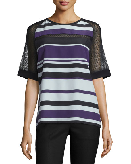 J. MendelHalf-Sleeve Striped Top W/Mesh Inset, Kitten Blue/Multi
