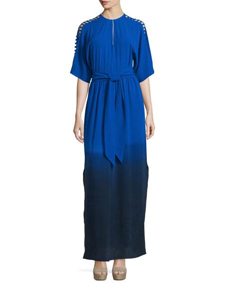 Foundrae Short-Sleeve Dip-Dyed Silk Maxi Dress, Cobalt/Navy