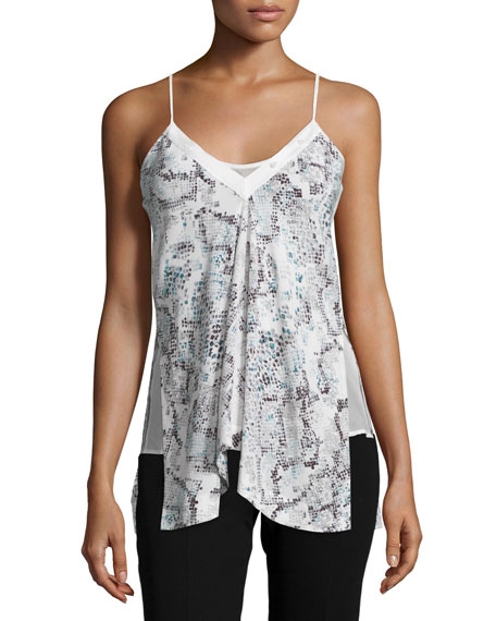 Foundrae Grosgrain Snake-Print Camisole, Mint