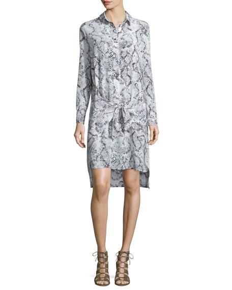 Foundrae Snake-Print Silk Wrap Dress, Mint