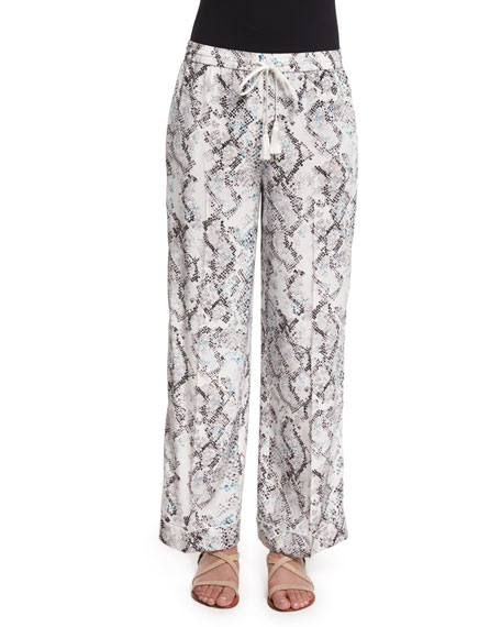 Foundrae Cotton Fringe-Trim Vest & Creased Snake-Print Pajama
