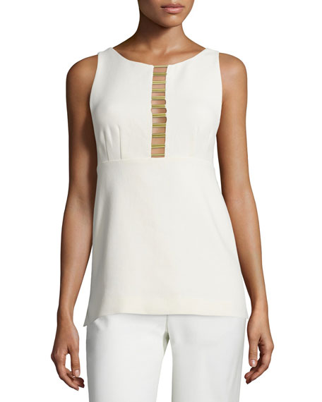 Foundrae Sleeveless Poplin Metal-Trim Tank, Cream