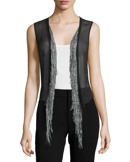 Cotton Leather-Trim Jacket w/ Silk Vest, Navy