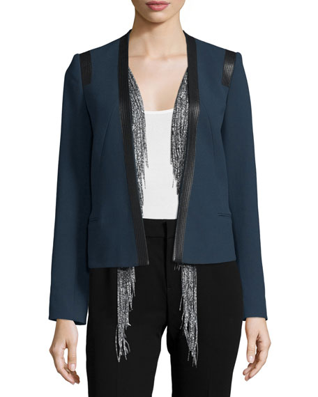 FoundraeCotton Leather-Trim Jacket w/ Silk Vest, Navy