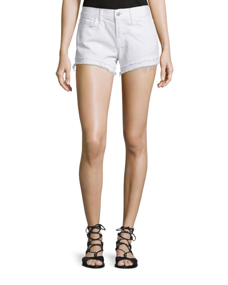 J Brand Sachi Low-Rise Cutoff Shorts, White Destruct