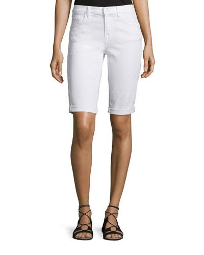 Beau Rolled-Cuff Bermuda Shorts, White Tie