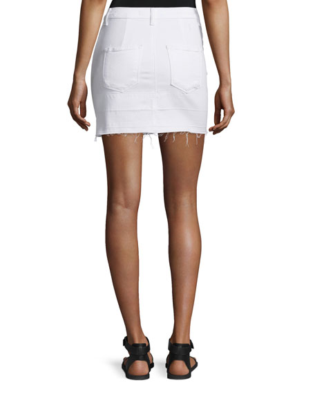 Leila Raw-Hem Denim Pencil Skirt, White Destruct