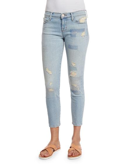 J Brand Jeans Low-Rise Cropped Jeans, Halo Destruct