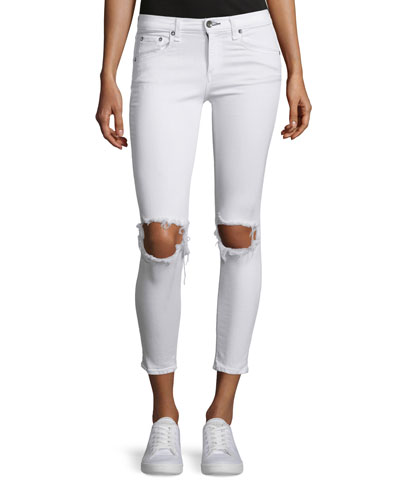 Distressed Skinny Cropped Jeans, White