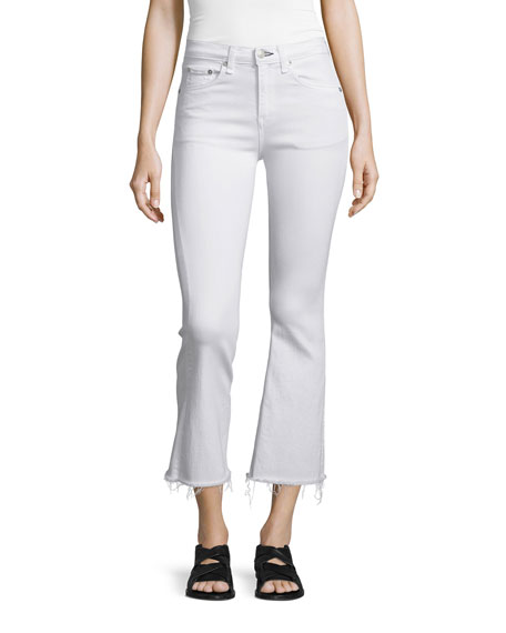 rag & bone/JEAN Mid-Rise Cropped Flare-Leg Jeans, Bright