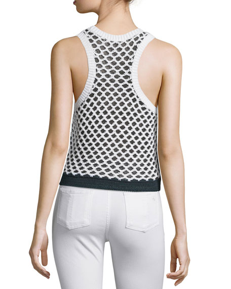 Taryn Crocheted Colorblock Tank, Black/White