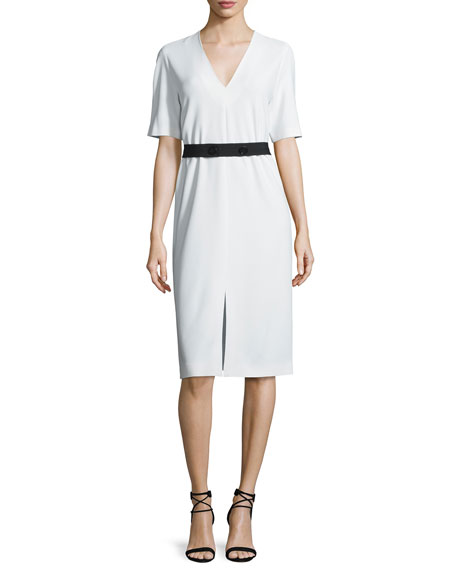 Joseph Phoebe Belted Crepe V-Neck Dress, Ivory