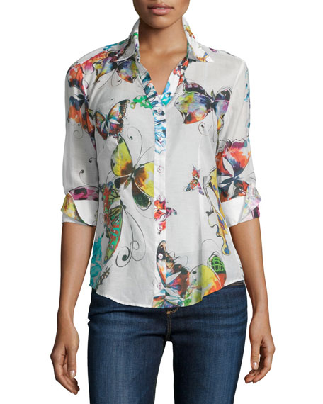 Bettina's Butterfly Long-Sleeve Blouse, Multi Colors