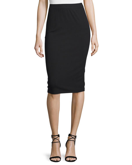 Eileen Fisher Calf-Length Pencil Skirt, Black