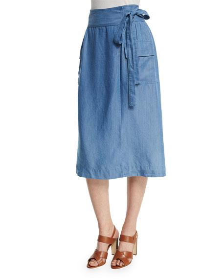 Neiman Marcus Chambray Tie-Waist Midi Wrap Skirt
