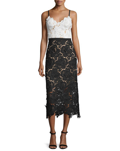 Sleeveless Sweetheart Lace Midi Cocktail Dress
