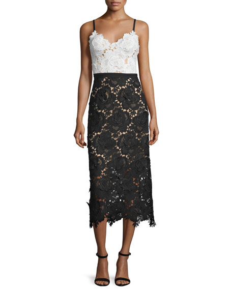 Catherine Deane Sleeveless Sweetheart Lace Midi Cocktail Dress
