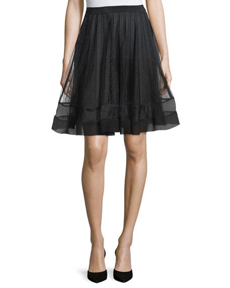 RED Valentino A-Line Skirt W/Ribbon Detail, Black