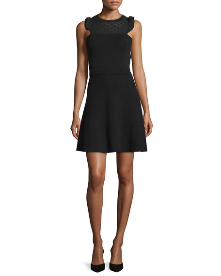 RED Valentino Sleeveless Lace-Yoke Dress, Black