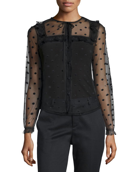 RED Valentino Long-Sleeve 3D Polka-Dot Blouse, Black