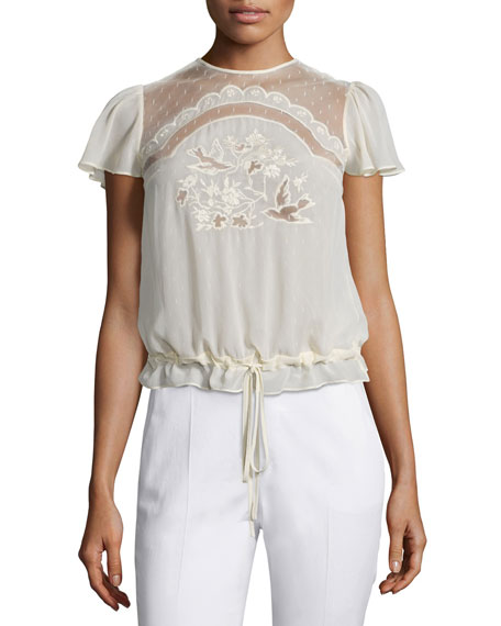 Short-Sleeve Bird-Cutout Blouse