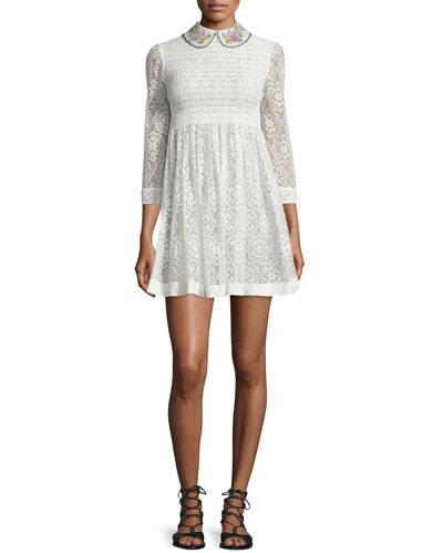 3/4-Sleeve Lace Mini Dress, Ivory
