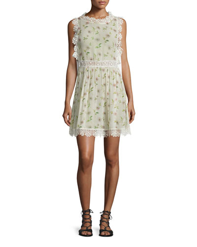 Sleeveless Lace-Trim Daisy-Print Dress, Ivory
