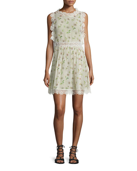 RED Valentino Sleeveless Lace-Trim Daisy-Print Dress, Ivory