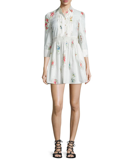 RED Valentino 3/4-Sleeve Framed-Floral Shirtdress, Latte