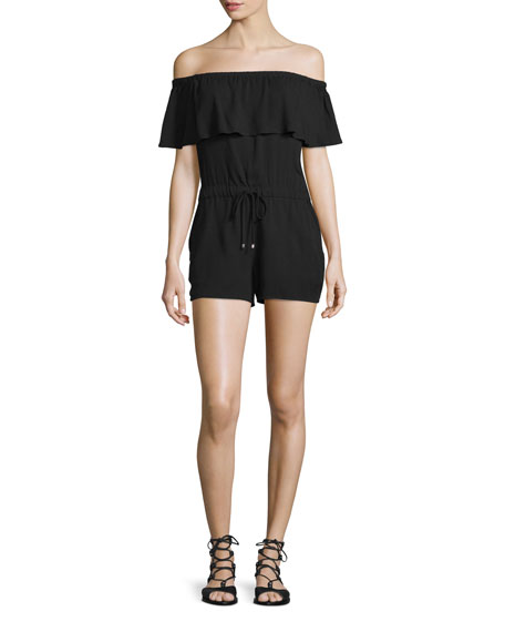 Stella Off-The-Shoulder Romper, Black