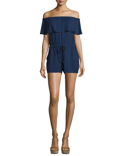 Stella Off-The-Shoulder Romper, Midnight