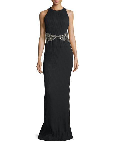 Badgley Mischka Embellished-Waist Racerback Column Gown, Black