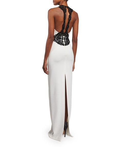 Lace-Appliqué Column Gown, Ivory/Black