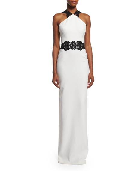 Badgley Mischka Lace-Appliqué Column Gown, Ivory/Black