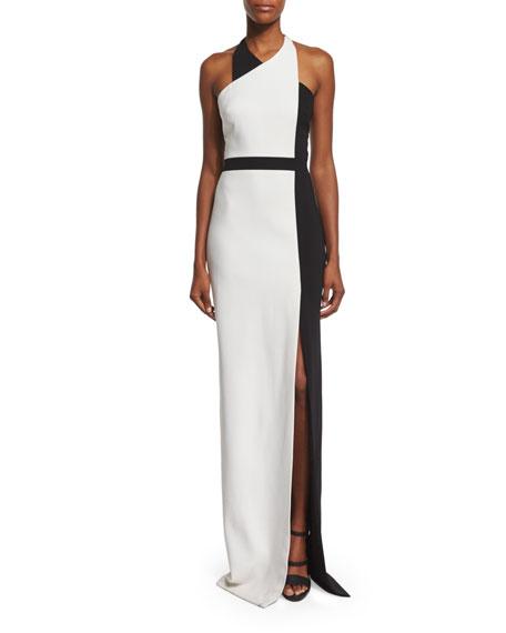 Badgley Mischka Halter-Neck Colorblock Column Gown, Black/Light Ivory