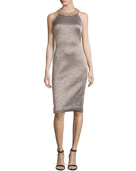 Badgley Mischka Embellished-Neck Leopard-Print Sheath Dress, Rose Gold/Multi