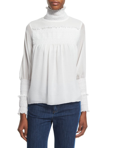 See by Chloe Embroidered Ruffle-Trim Top, Off White