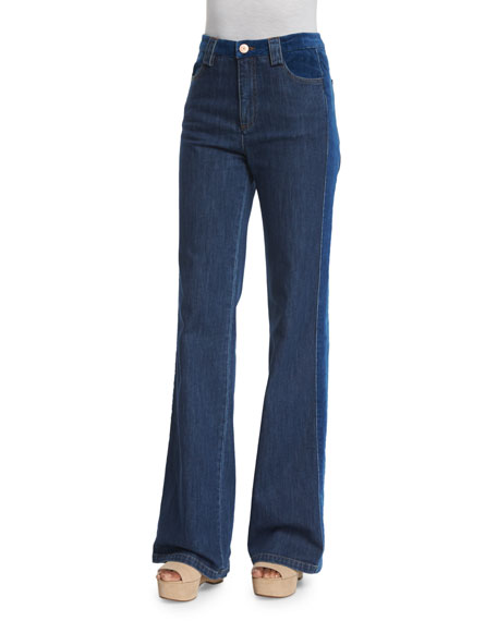 See by Chloe High-Rise Velvet-Trim Jeans, Washed Indigo
