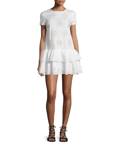 RED Valentino Short-Sleeve Layered-Hem Tunic Dress, White