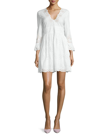 RED Valentino Sangallo 3/4-Sleeve Eyelet Dress