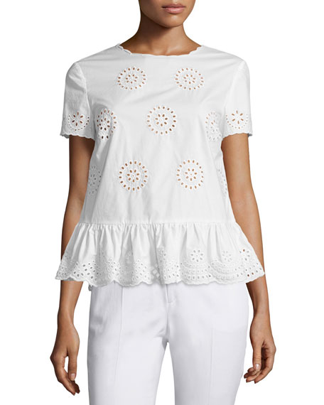 RED Valentino Sangallo Cotton Lace Peplum Blouse