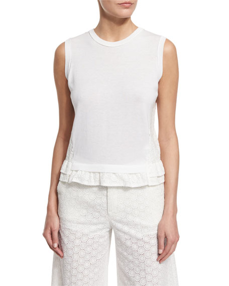 RED Valentino Sleeveless Lace-Back Top, White